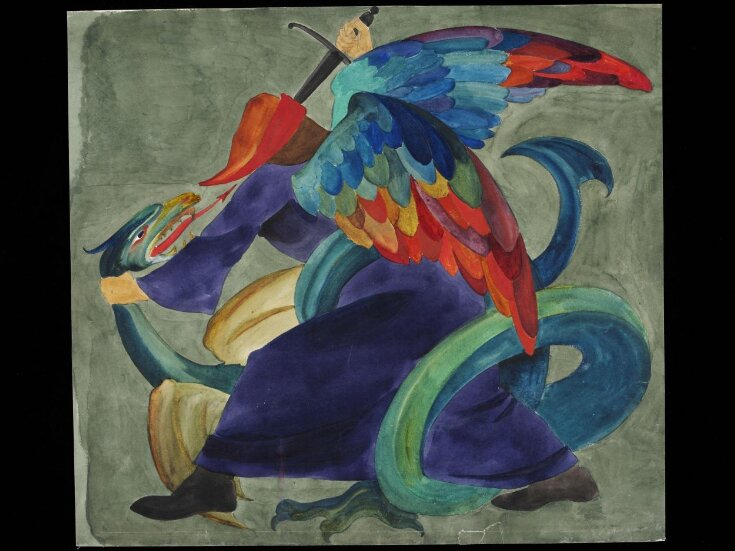 Male figure fighting a dragon top image