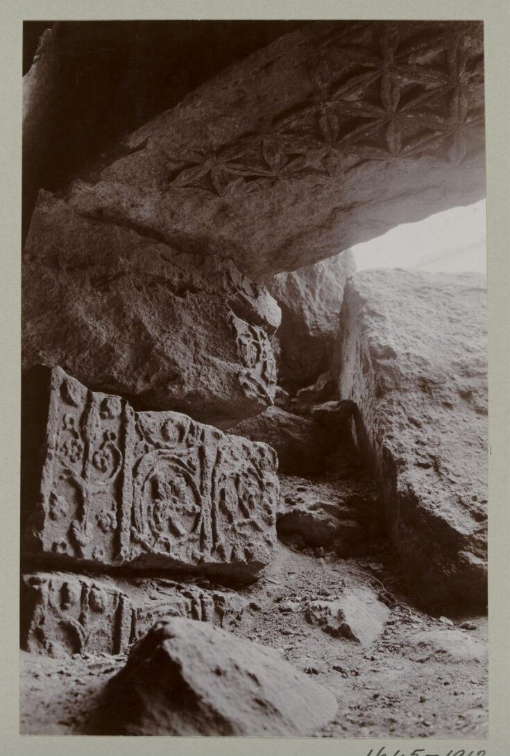 Carved lintel and jamb from the door frame to Room 5 in the ruins of the Great Iwan at  Hatra, Iraq top image