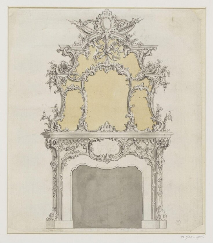 A design for a rococo chimney piece which appeared as plate no.179 in The Gentleman and Cabinet-Maker's Director (1762 ed.), Thomas Chippendale top image