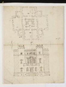 Sketch plan and elevation, Sir William Saunderson's House, Greenwich thumbnail 1
