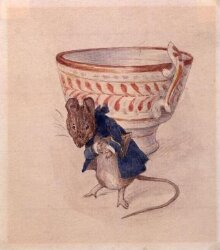 Gentleman mouse bowing beside a teacup thumbnail 1