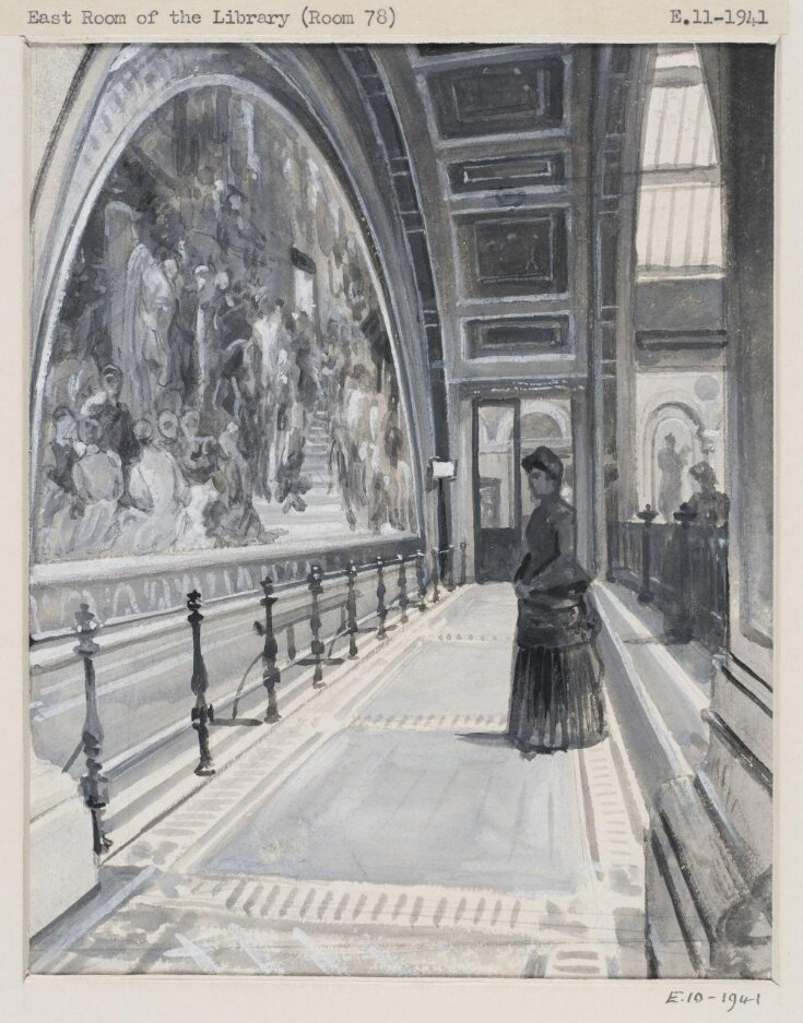 """Fresco by Lord Leighton, P.R.A., """"The Industrial Arts applied to War' in the north gallery of the South Court top image"""