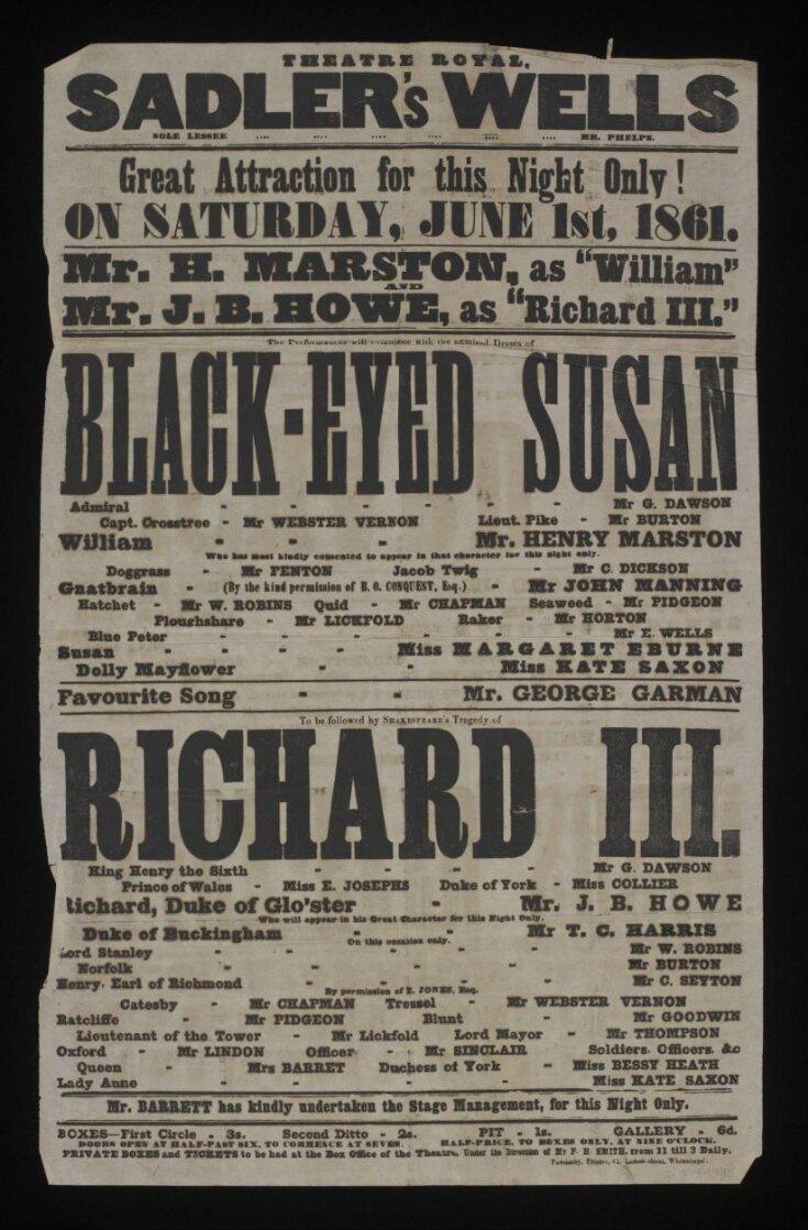 Theatre Royal Sadler's Wells poster top image