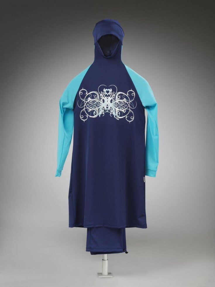Ahiida Modest-Fit Navy/Turqoise-ButterFly Ice/Silver Burqini  top image