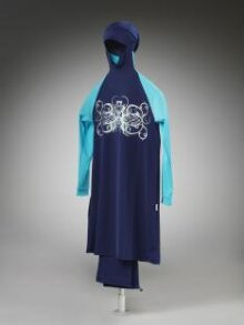 Ahiida Modest-Fit Navy/Turqoise-ButterFly Ice/Silver Burqini  thumbnail 1