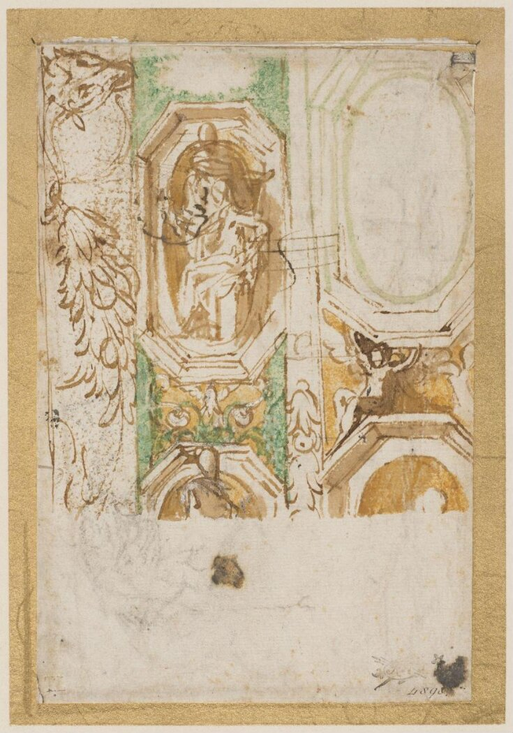 Recto: Sketch showing details of a decorative scheme for the eastern vault of the Madonna della Steccata, Parma top image