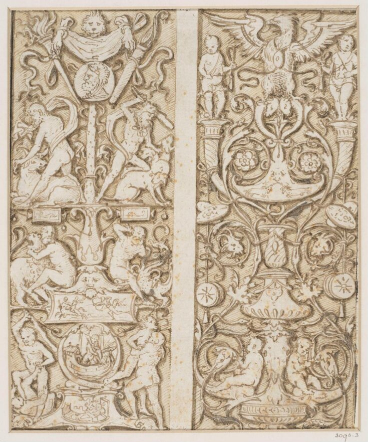 Designs (2 on 1 sheet) for panels of grotesque ornament, the left one decorated with scenes from the legend of Hercules top image