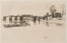 Chelsea: old Battersea Bridge and Chelsea Old Church, with Albert Bridge beyond (seen in reverse) thumbnail 1