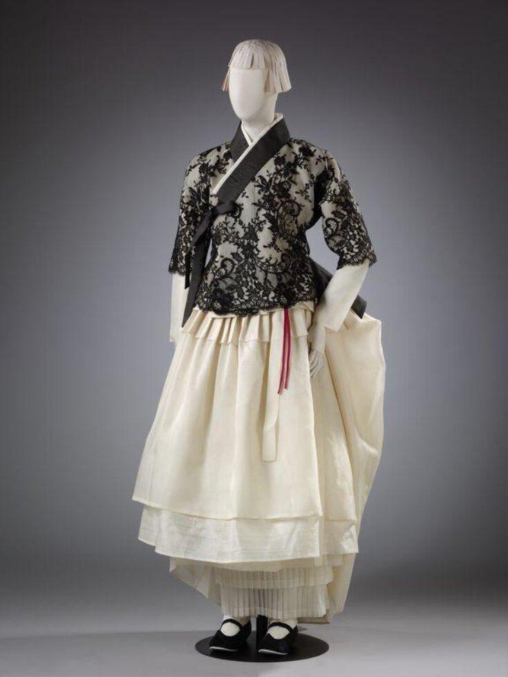 Hanbok Ensemble With Black Lace Yeonan Kim Clan Jacket and Cream Skirt  top image