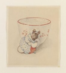 Lady mouse curtseying beside a tea-cup thumbnail 1