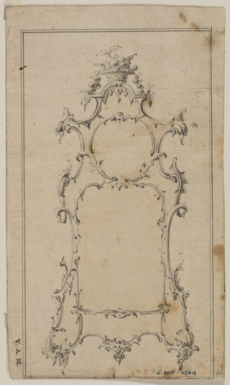 Design for a pier-glass from; A Miscellaneous Collection of Original Designs, made, and for the most part executed, during an extensive Practice of many years in the first line of his Profession, by John Linnell, Upholsterer Carver & Cabinet Maker. Selected from his Portfolios at his Decease, by C. H. Tatham Architect. AD 1800. top image
