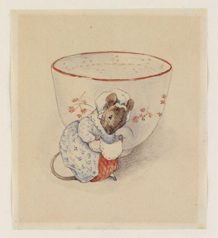 Lady mouse curtseying beside a tea-cup top image